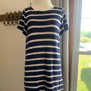 Talbots Blue Tan Striped Casual Tee Dress Sz Lg